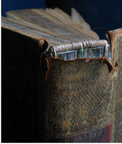 A 200-year-old monograph with traditional leather binding and decoration. MJ Ross